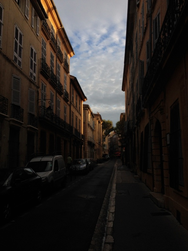 The steep angle of the light beginning to fill the narrow, high-walled streets was enchanting.