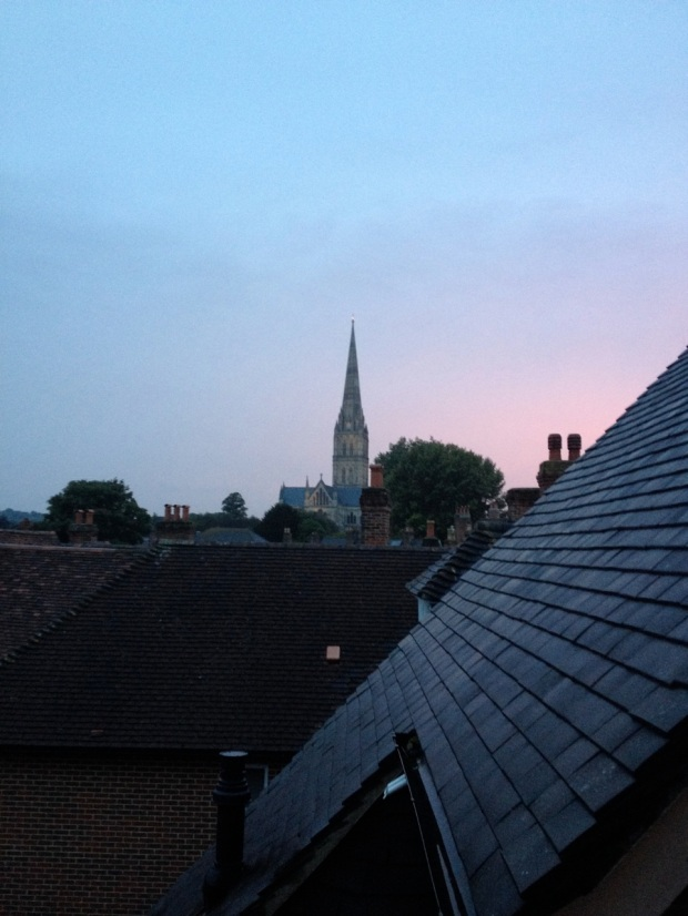Sky clearing, sun setting. The view from our attic window.