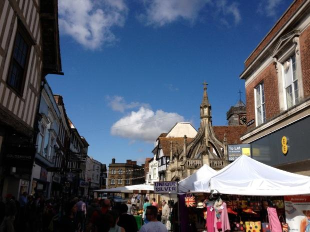 Street market downtown in Salisbury