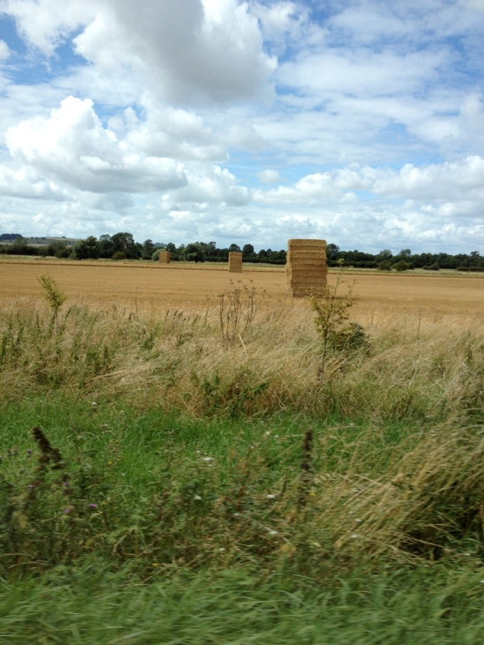 """Right after Avebury we passed this field with tall stacks of hay bales and Mike came up with some hilarious-but-now-forgotten name for them, along the lines of """"Hay-Henge."""""""