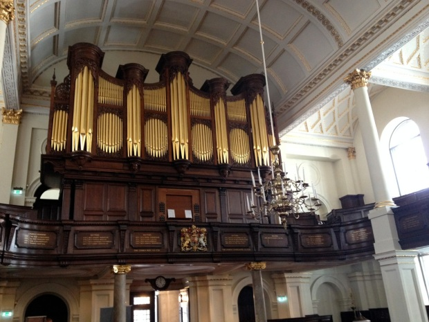 The organ where we performed a group recital. Newly built by an American firm, it retains the original casework from Handel's day.