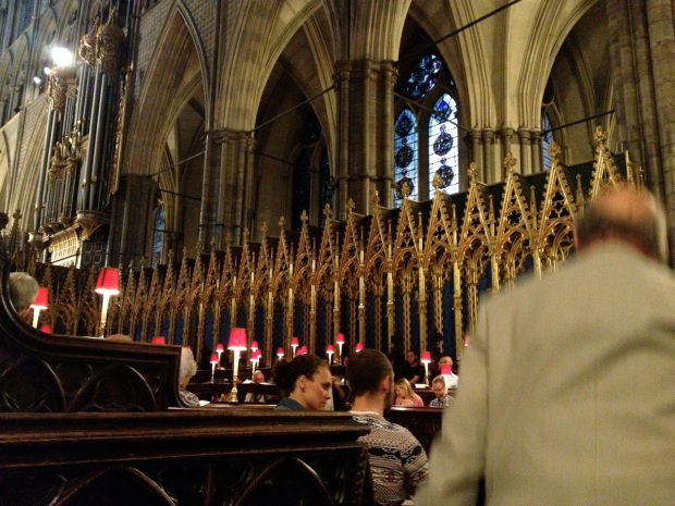 We sat in temporary chairs just to the east of the choir stalls