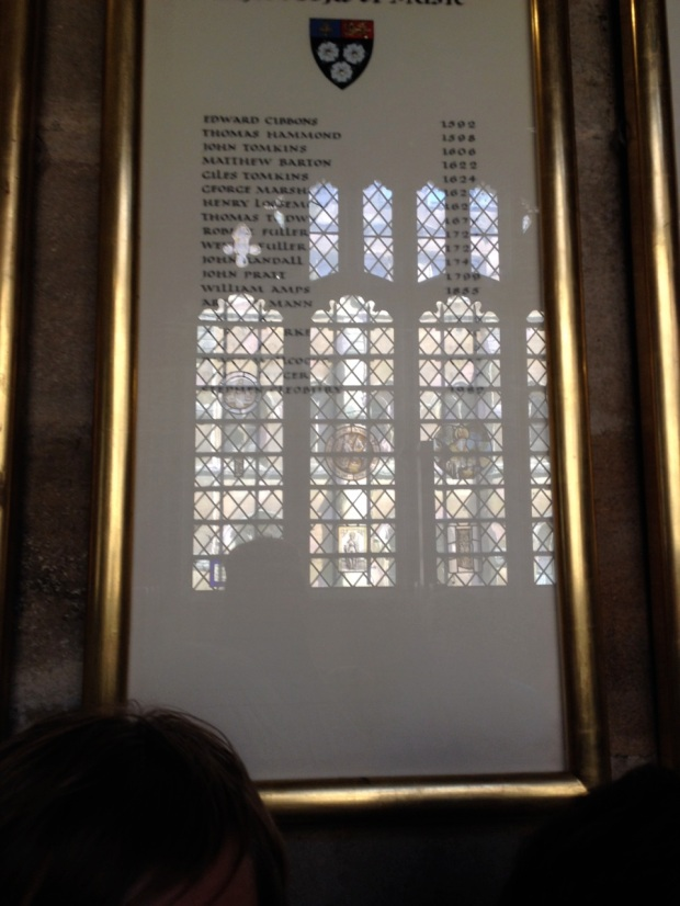 Bad picture, but this is the list of all the organists that have served King's.
