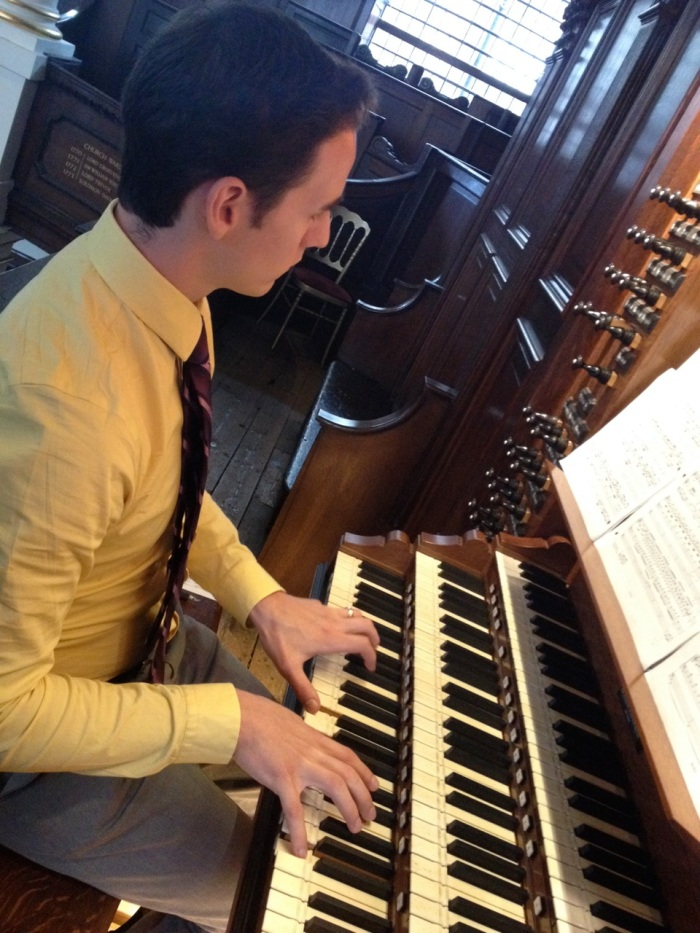 Mike played a piece he'd learned near the beginning of his master's program, Buxtehude's Toccata in F, BuxWV 156.