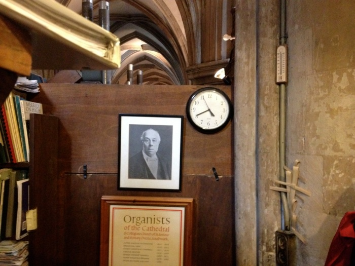 "Our Europe journal can't be complete without this photo of the inside of the little closet space where the organ console is housed at Southwark. We were tag-teaming on the bench at a particularly tedious moment in rehearsal. With the recital on our minds, neither of us had much interest in rehearsing. Mike came up to the organ where I'd been accompanying and pointed to this photo (certainly of some past musician at Southwark): ""This is how I feel about this rehearsal,"" he said. Instead of laughing out loud we took a picture so we could laugh again and again later. I think I may frame it for our home office, a tribute to Music Rehearsals Everywhere. It's not all fun and games."