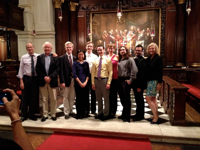 The recitalists with three of the five Indiana University organ faculty