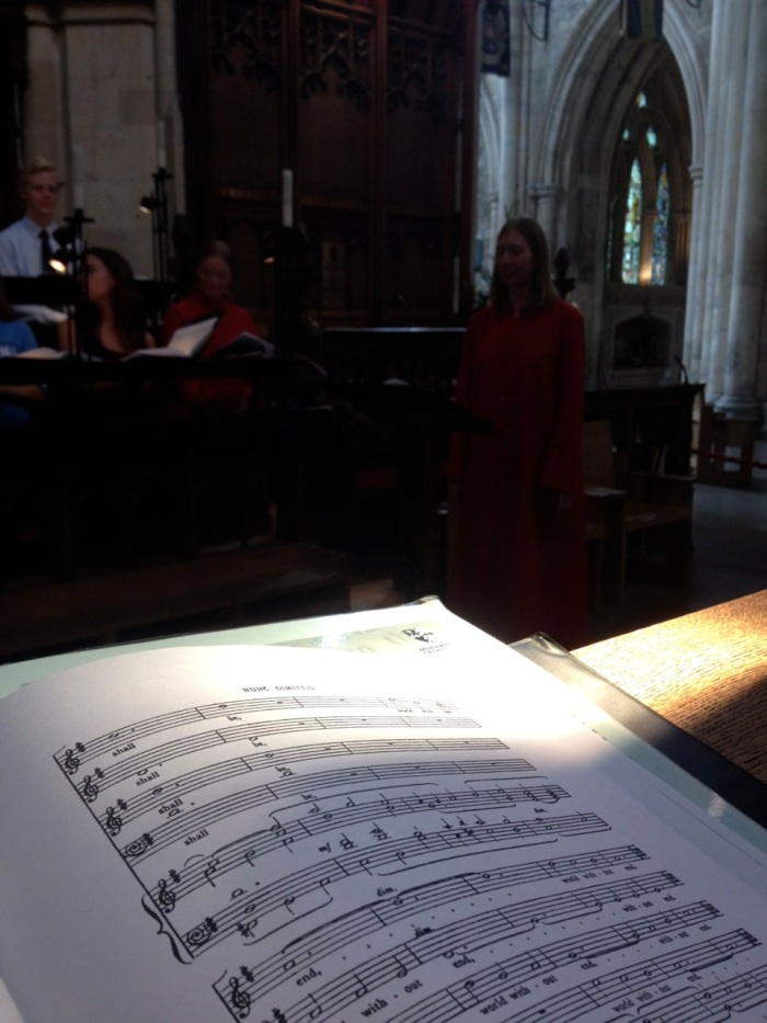 Random rehearsal photo; I liked the beam of light hitting my page and the contrasting dim space