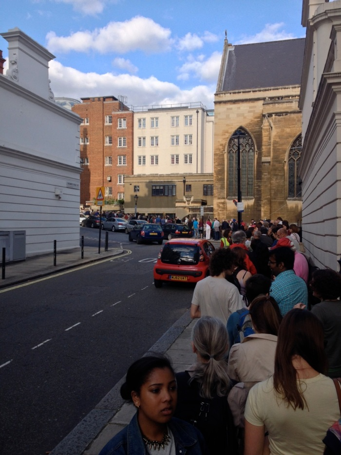 This was the line we were standing in for the Proms. It stretched a couple blocks.