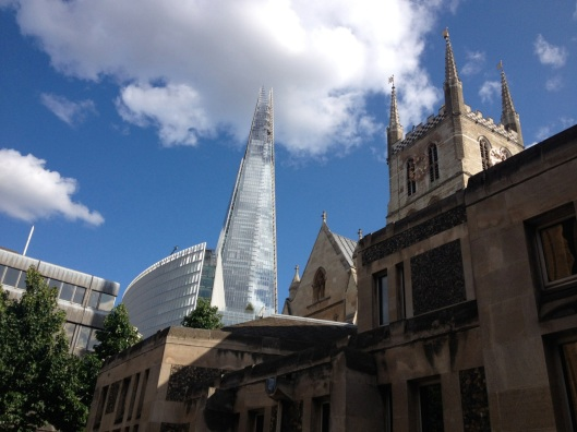 You'll appreciate the perspective of this photo's angle if you remember how tiny Southwark was in the Shard's shadow in the photo taken on the Millenium bridge the day prior in our visit to St. Paul's.