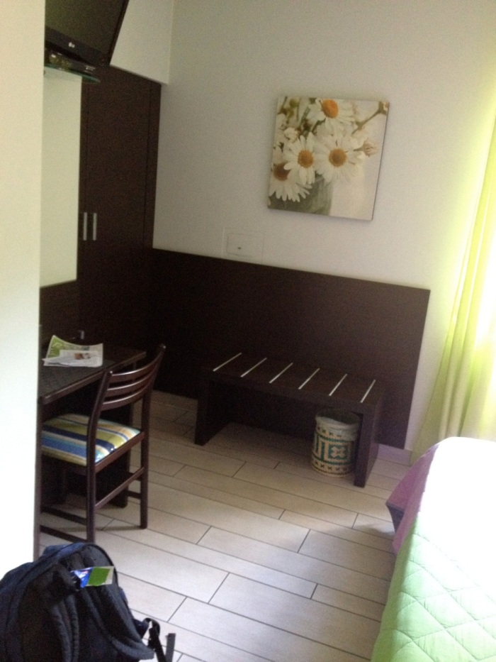 Our beautiful room, with a large closet and a mini fridge.