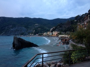 Looking back toward the new part of Monterosso from the bluff by the castle