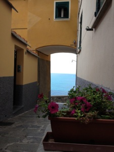 As we wandered toward the edge of Corniglia we came upon this scene. You can spot a speck of a sailboat in the distance.