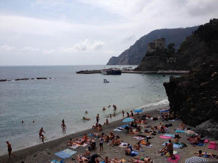 This is the view from the trailhead of the small beach on the edge of historic Monterosso. The restaurant where we dined the night we arrived was just out of view in the bottom right corner.
