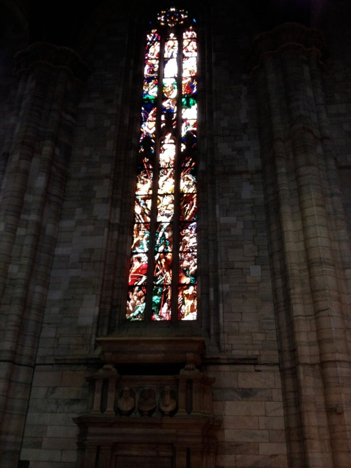 We spent nearly an hour standing at the foot of eight or nine windows like this, doing our best to make out Biblical history, traced from one pane to the next. (We kinda impressed ourselves...)